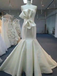Trumpet/Mermaid Strapless Satin Sweep Train Bow Wedding Dresses - www.millybridal.org
