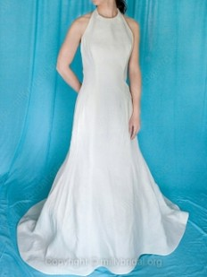 Trumpet/Mermaid Halter Satin Court Train Bow Wedding Dresses - www.millybridal.org