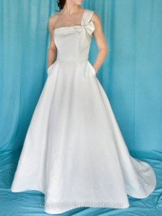 A-line One Shoulder Satin Sweep Train Bow Wedding Dresses - www.millybridal.org