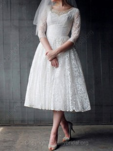 A-line Scoop Lace Satin Tea-length Beading Wedding Dresses - www.millybridal.org