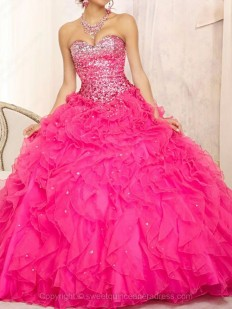 Buy Ball Gown Sweetheart Organza Sweep Train Beading Quinceanera Dresses with various styles - Sweetquinceaneradress