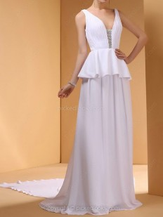 Shop Chiffon Straps Chapel Train A-line Ruffles Ball Dresses in New Zealand-NZD$ 176.29