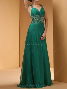 Shop Chiffon Straps Floor-length A-line Beading Ball Dresses in New Zealand-NZD$ 204.69