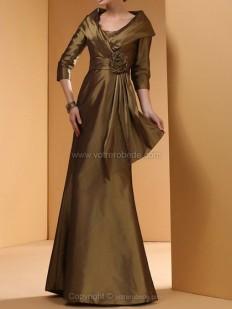 Achetez Forme Princesse Epaules nues Longueur ras du sol Taffeta Robe de soirées avec Fleur en ligne sur Votrerobede