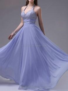 Achetez Forme Princesse Dos nu Longueur ras du sol Mousseline Robe de soirées avec strass en ligne sur Votrerobede