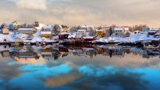 Winter Snow Reflection of Lofoten Islands at Norway - Photography Wallpapers