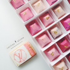 Box of 12 - Shades of Pink Pyramid Chocolates — nectar and stone