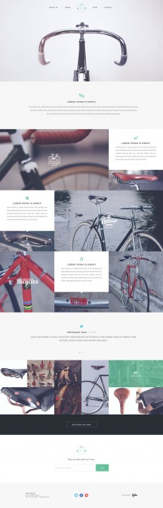 Web design / Free one page PSD template by Yebo! – Bicycle