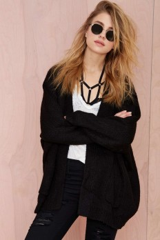 UNIF Hole Wool Cardigan - Black   Shop Sweaters at Nasty Gal