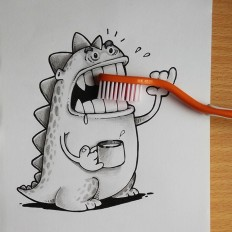 Doodles Wonderfully Act Together With Real Life Objects