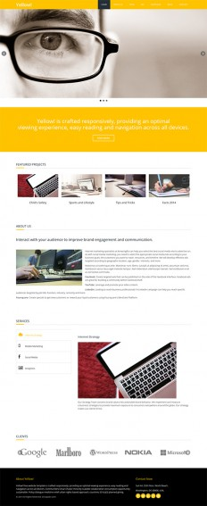 Responsive HTML5 Template for Free Download: Yellow! | EGrappler
