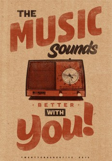 Music Sounds Better With You – Vintage Poster – Retro Art Print on Inspirationde