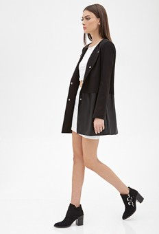 Collarless Faux Leather-Paneled Coat | FOREVER21 - 2000057789