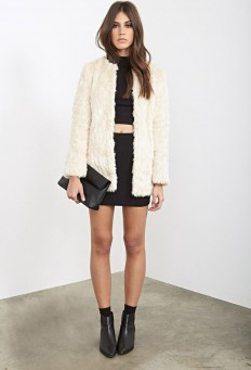 Collarless Faux Fur Jacket | FOREVER21 - 2000101441