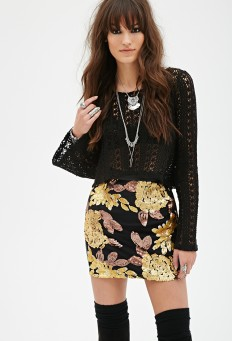 Sequined Faux Leather Skirt | FOREVER21 - 2000136900