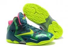 "Mens LeBron 11 ""T-Rex"" NBA Kicks - Green/Yellow & Pink Air Max King James Athletic Sneakers"