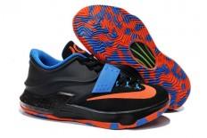 Popular Nike Brand Kevin Durant Black Orange Blue Color Mens KD 7 Trainers