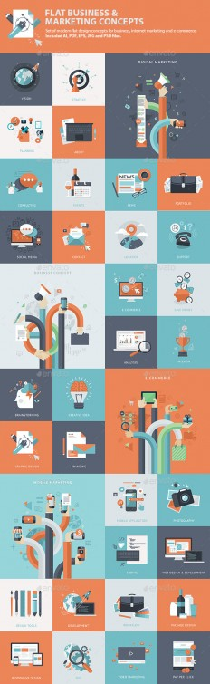 Set of Flat Business & Marketing Concepts | GraphicRiver
