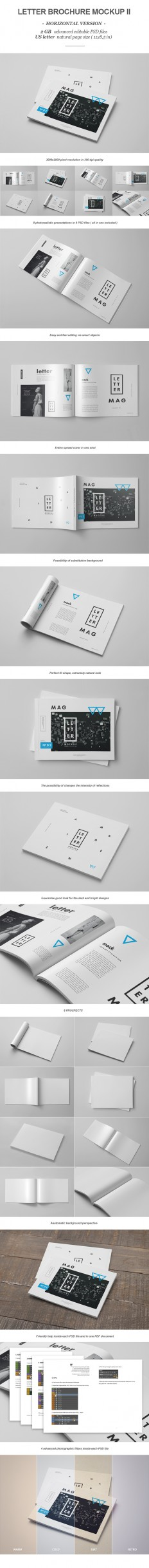 Horizontal Letter Magazine / Brochure Mock-up 2 on