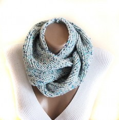 Green mint knit cowl scarf neck warmer birthday by selenayy