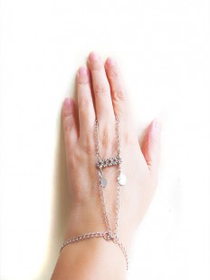 slave bracelet slave ring Silver chain ring bracelet by selenayy