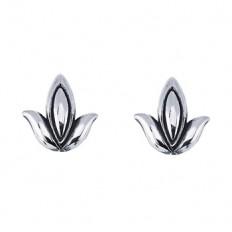 Silver Lotus Earrings | Priya Jewelry
