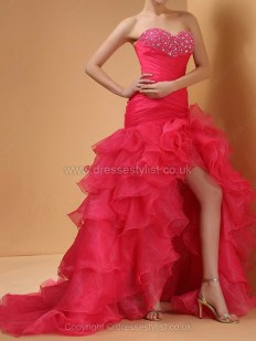 Organza Sweetheart Trumpet/Mermaid Court Train Tiered Prom Dresses - dressestylist.co.uk