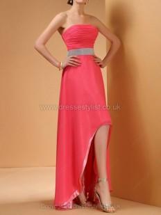 Chiffon Strapless A-line Asymmetrical Ruffles Prom Dresses - dressestylist.co.uk