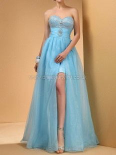 Organza Sweetheart A-line Floor-length Rhinestone Prom Dresses - dressestylist.co.uk