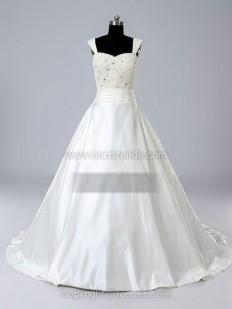 Duchesse-Linie Rechteckiger Ausschnitt Kapelle-schleppe Satin Brautkleid mit Perlen verziert kaufen bei Hochzeitde
