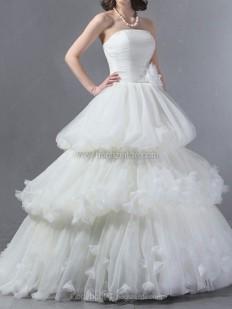 Duchesse-Linie Trägerlos Kapelle-schleppe Tüll Brautkleid mit Gestupft kaufen bei Hochzeitde