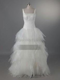 A-Linie Rechteckiger Ausschnitt Bodenlang Tüll Brautkleid mit Gestupft kaufen bei Hochzeitde