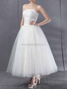Duchesse-Linie Trägerlos Knöchellang Tüll Brautkleid mit Applikationen kaufen bei Hochzeitde