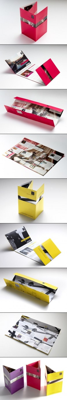 Print / Interesting multi fold poster brochure – nifty idea for revealing designs