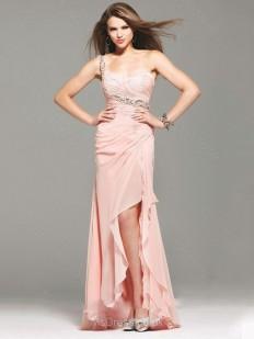 Sheath/Column One Shoulder Chiffon Asymmetrical Ruffles Prom Dresses - www.msdress.co.uk
