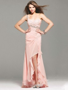 Sheath/Column One Shoulder Chiffon Asymmetrical Ruffles Prom Dresses - www.msdress.co.uk