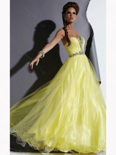 Princess Sweetheart Tulle Taffeta Floor-length Rhinestone Prom Dresses - www.msdress.co.uk