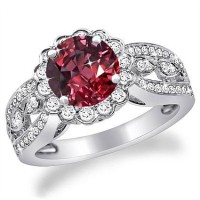 Platinum Flower Style Diamond Engagement Ring with 1.25 Ruby Center (or Sapphire or Emerald), Platinum - RN1504DR-P