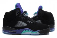 Mens Nike Jordan Retro 5 V Black Grape Big Size Sports Shoe - Color: Black/Green/Grape Ice
