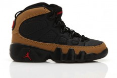 Kids Jordan IX Olive Black/Brown/Varsity Red