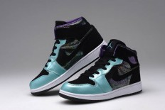 Female Air Jordan Retro 1 Mid-Cut Purple Grape/Black-Teal Shoes