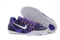 White/Black/Court Purple Mens Low EM Air Zoom Kobe Bryant 9 IX Basketball Shoes