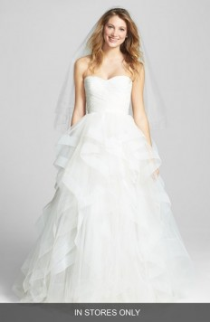 Reem Acra 'Eliza' Lace Detail Ruffled Tulle Wedding Dress (In Stores Only) | Nordstrom