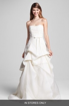 BLISS Monique Lhuillier Embroidered Lace & Tiered Organza Dress (In Stores Only) | Nordstrom
