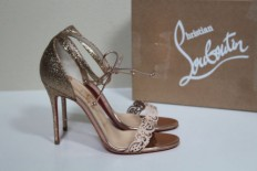 Sz 7 37 5 Christian Louboutin Valnina Gold Glitter Ankle Red Sole Sandal Shoes | eBay