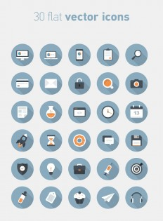 30 Flat Circular Vector Icons | Freebies