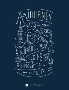 A Journey of a thousand miles / Lao Tzo Quote / Typography by Jennifer Wick on Inspirationde