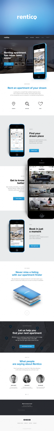 Rentico – mobile application for renting an apartment by Serge Vasil on Inspirationde