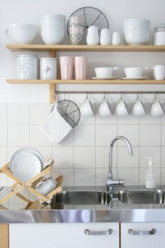 Kitchen Combo: White Walls & Wood Open Shelving | Apartment Therapy
