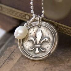 Fleur De Lis Charm Necklace Silver Pendant - Wax seal pendant